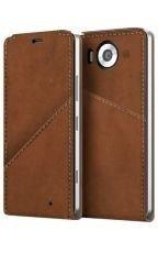 Etui Mozo Note Flip Cover Brązowy do Lumia 950