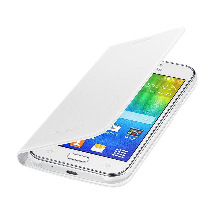 Etui Flip Wallet Białe do Samsung Galaxy J1 (EF-FJ100BWEGWW)