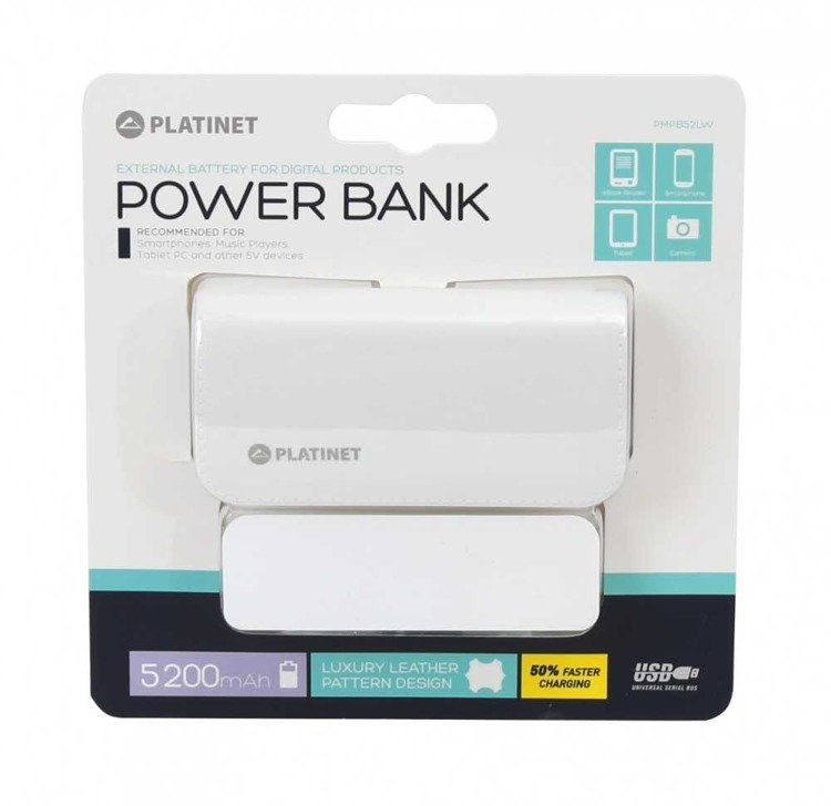 PLATINET Power Bank 5200 mAh Biały (PMPB52LW)
