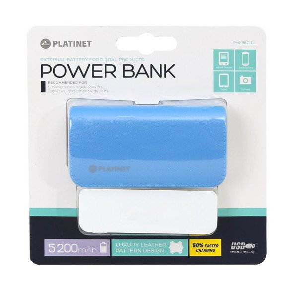 PLATINET Power Bank 5200 mAh Niebieski (PMPB52LBL)