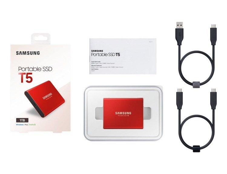 SAMSUNG T5 Dysk zewnetrzny SSD 1TB Czerwony USB 3.1 (MU-PA1T0R/EU)